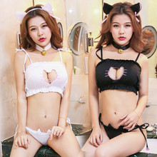 bc6d6b3fb9b7 Conjunto de lencería Cosplay lindo Sexy Kawaii sujetador gato bordado Meow  star Keyhole hueco sujetador y ropa interior Love liv.