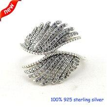 Шикарные перья серебряные кольца с CZ стерлингового серебра 925 ювелирные изделия «сделай сам» оптом 09R060