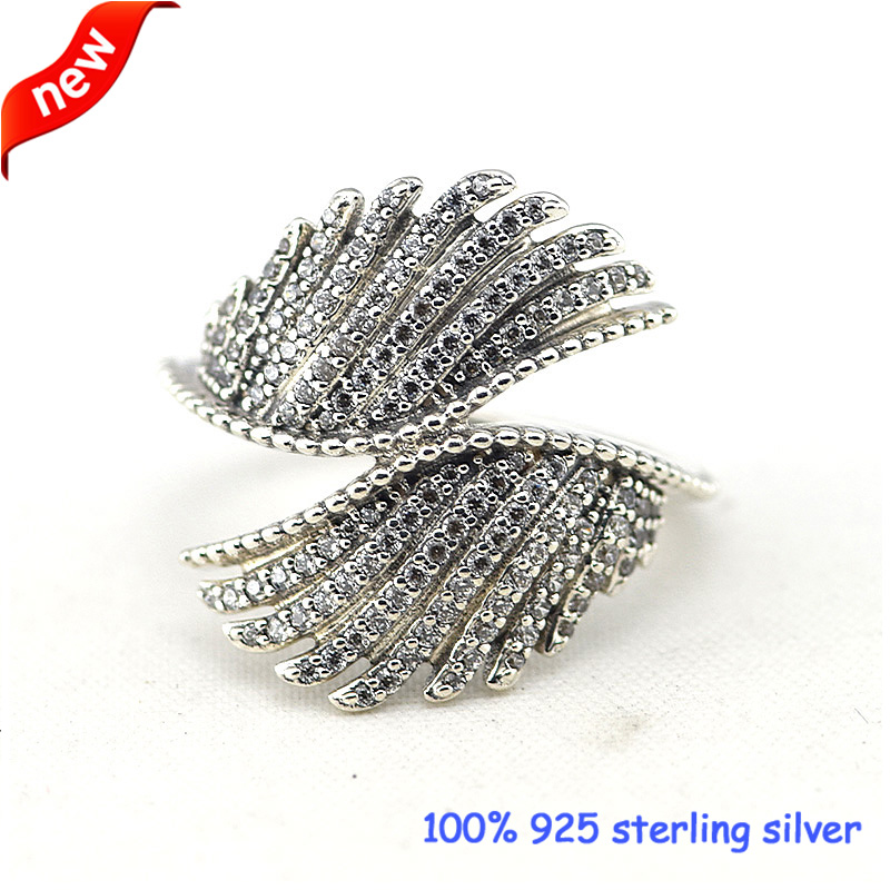 Majestic Feathers Silver Rings with CZ 100% 925 Sterling Silver Jewelry DIY Wholesale 09R060