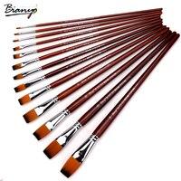 Bianyo 13Pcs Long Handle Nylon Hair Flat Shape Oil Brush Set For Artist School Student Acrylic