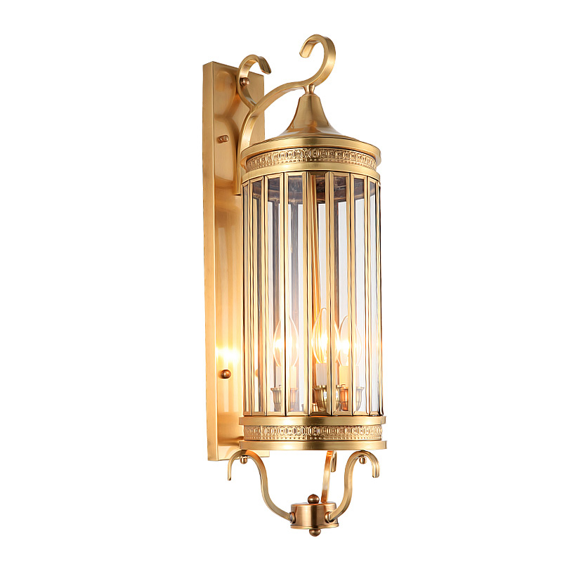 American Style Wall Lamp copper Outdoor Nostalgic Vintage Wall Lamp Light Brass Glass Wall Sconce 100 Guaranteed free shipping in LED Indoor Wall Lamps from Lights Lighting