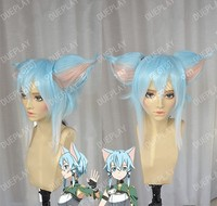 Sword Art Online Headwear Mother's Rosario Sinon Cat Ear Anime Synthetic Hair Light Blue Cosplay Wig