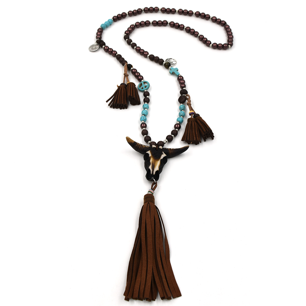New Handmade beaded Chain long necklace leather tassel resin Taurus pendent necklace Buffalo head pendant statement necklace