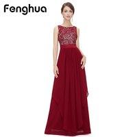 Fenghua Moda 2018 Chiffon Pizzo Abito Senza Maniche Estate Delle Donne Maxi Vestito Da Partito Lungo Elegante Sottile Vestito Sexy Donna abiti