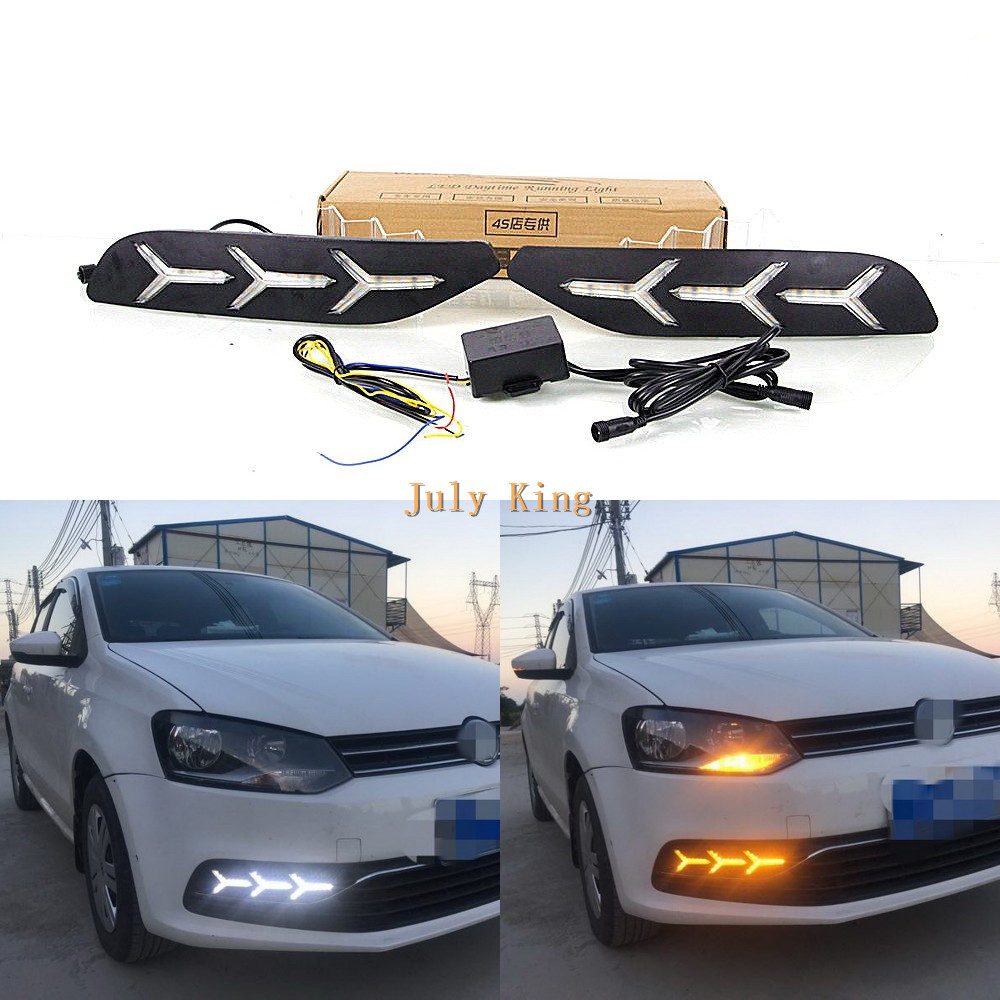 July King LED Daytime Running Lights Case for Volkswagen Polo 2014-2018 without fog lamp Version, LED DRL + Yellow Turn Signals july king led daytime running lights drl led fog lamp case for bmw 3 series e90 2006 2008 with yellow turn signal light