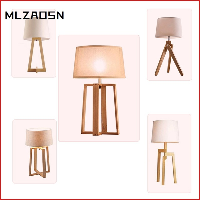 Nordic Wooden Table Lamp Living Room Solid Wood Lamp Study Bedroom