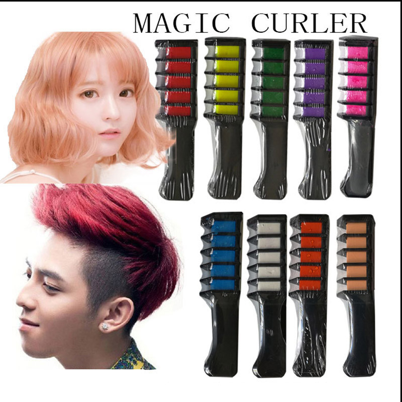 2018 Temporary Hair Chalk Hair Color Comb Dye Salon Party Fans Cosplay Tool Hair Color Comb Fashion Hair Color Curler