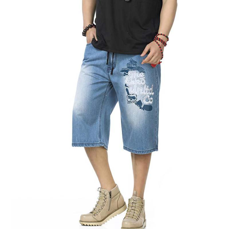 ФОТО Fashion New 2016 Plus Size Summer Thin Calf Lenght Pants Loose Hiphop Jeans Men Trousers Man's Baggy Pants #1802-1