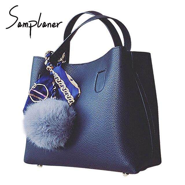 Casual Fur Ball Bucket Bag Litchi Pattern Soft PU Leather Women Handbag  Brand Two Pieces Female Shoulder Bag Girls Messenger Bag 0dab3b05fef6f
