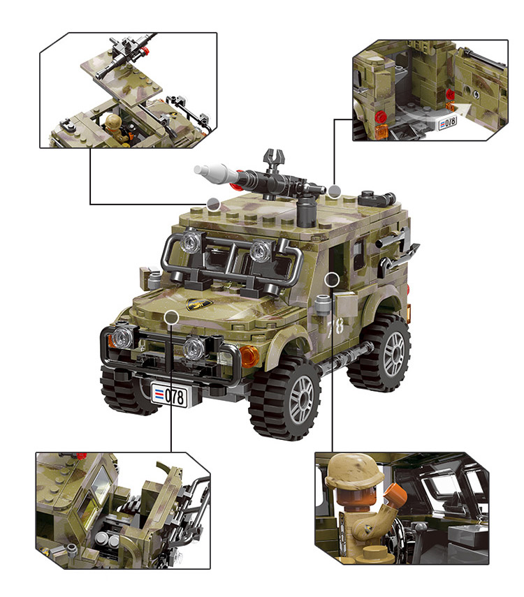 497pcs Military Jeep Car Model Building Blocks with Soldier Figures Toys Bricks