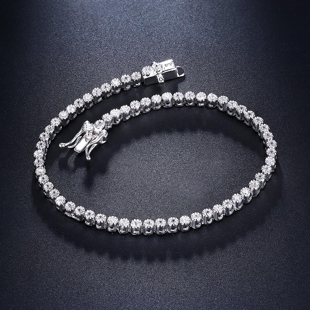 18cm tennis bracelets 925 silver jewelry 2mm crystal round stones top quality jewellery luxury sterling silver Bracelet & bangle hermosa jewelry tennis bracelet 925 sterling silver bracelets 7 inch qa13