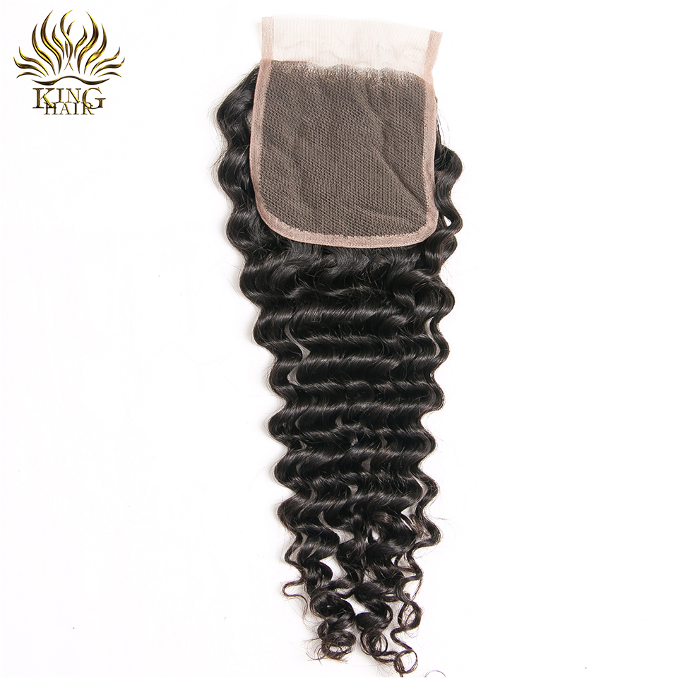 King Hair Peruvian Deep Wave Human Hair Weave 10-18 Inch One Piece Lace Closure 4x4 Free Part Swiss Lace Remy Hair 130 Density