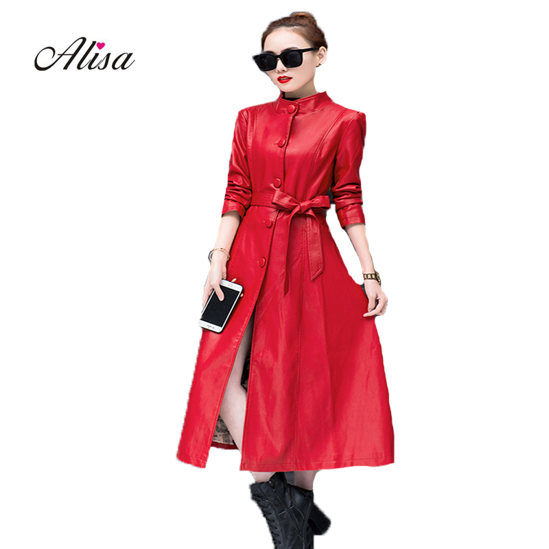 4xl Big Size Women's Trench Coats 2018 New Autumn Long Sleeve Slim Pu Leather Coat Single Female Breasted Harajuku Windbreaker