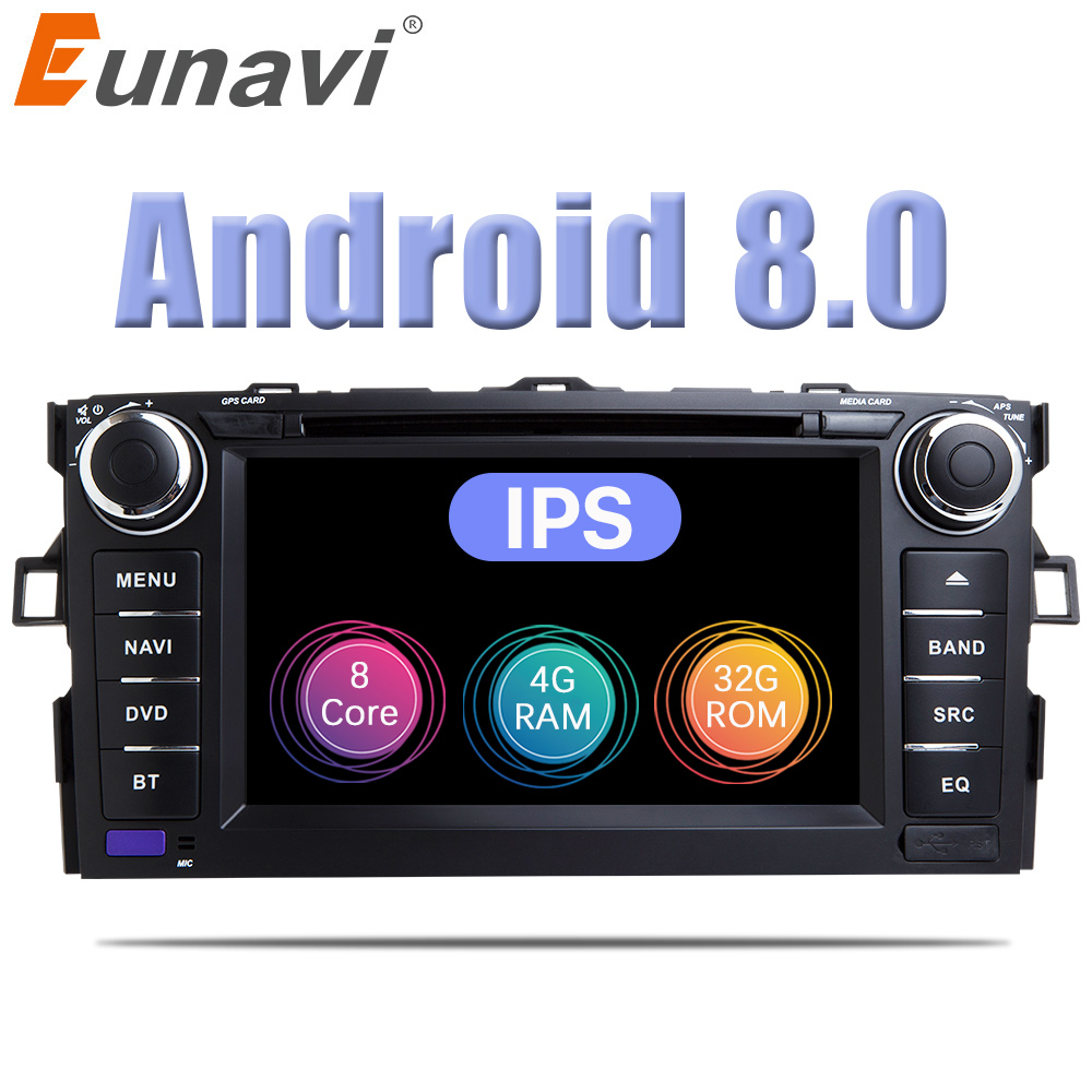 Eunavi Octa Core 7'' Android 8.0 2 din Car DVD Player For Toyota Auris 2007 2008 2009 Radio GPS Navigation Radio Stereo wifi USB eunavi 7 2 din android 7 1 8 1 car dvd player radio multimedia gps navi for toyota rav 4 rav4 audio stereo 2din rds wifi usb