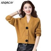 de7d53836f86 2018 otoño mujer suéter de punto abrigo de alta elasticidad suave Rebeca  mujer botones corto capa tornillo hilo suéter S31