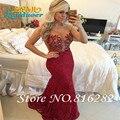 Vestido De Festa 2016 Vestido De Gala Sexy ver através voltar colher Sheer Strap sereia Lace longo Prom Dress partido Vestido De baile elegante