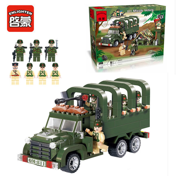 Enlighten 811 Combat Zones Modern Military Army Transporter Load carriers SWAT Model Bricks Building Block Toys For Gift pvc building blocks army field combat military escort weapons
