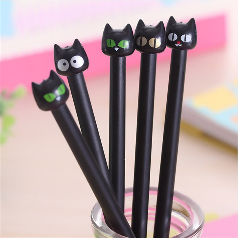 5 Pcs / Pack 0.4mm Cute black Cat Gel Ink Pen Maker Pen School Office stationery Supply Student gifts Escolar Papelaria 2 pcs pack various lovely cat magnet bookmark paper clip school office supply escolar papelaria gift stationery