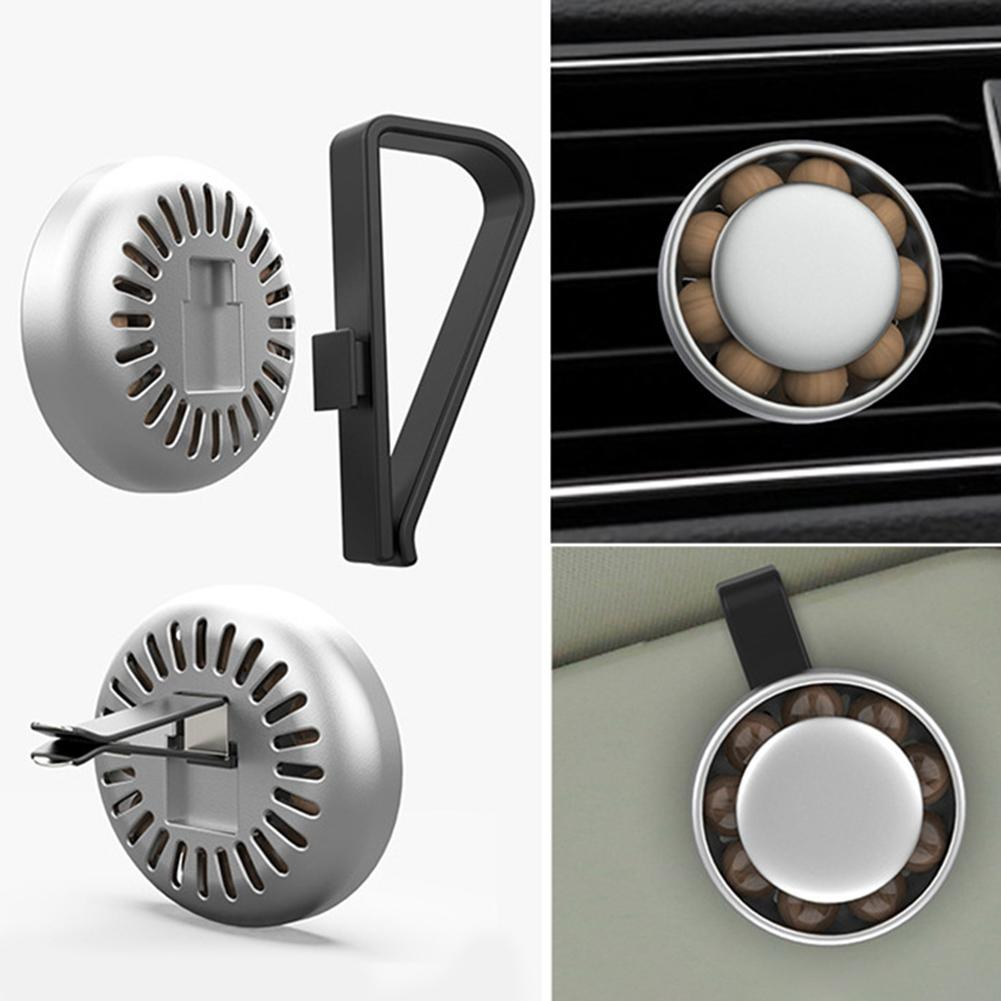 Round Wood Bead Car Air Vent Sun Visor Freshener Perfume Clip Aroma Diffuser in Air Freshener from Automobiles Motorcycles