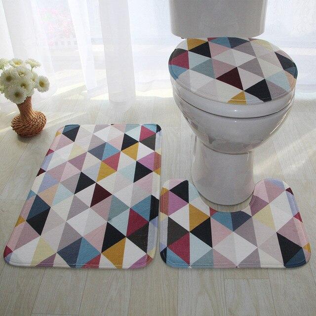 Anti-slip Toilet Cover Bath Sets Decor Safety Tape Mat 3 Pieces/Set Absorbent Bathroom Floor Mat Bathroom Carpet Set Bath Rug
