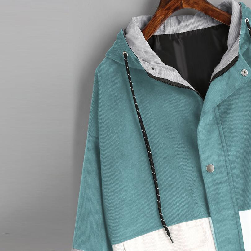 Long Sleeve Corduroy Patchwork Oversize Zipper Jacket Windbreaker coats and jackets women 20