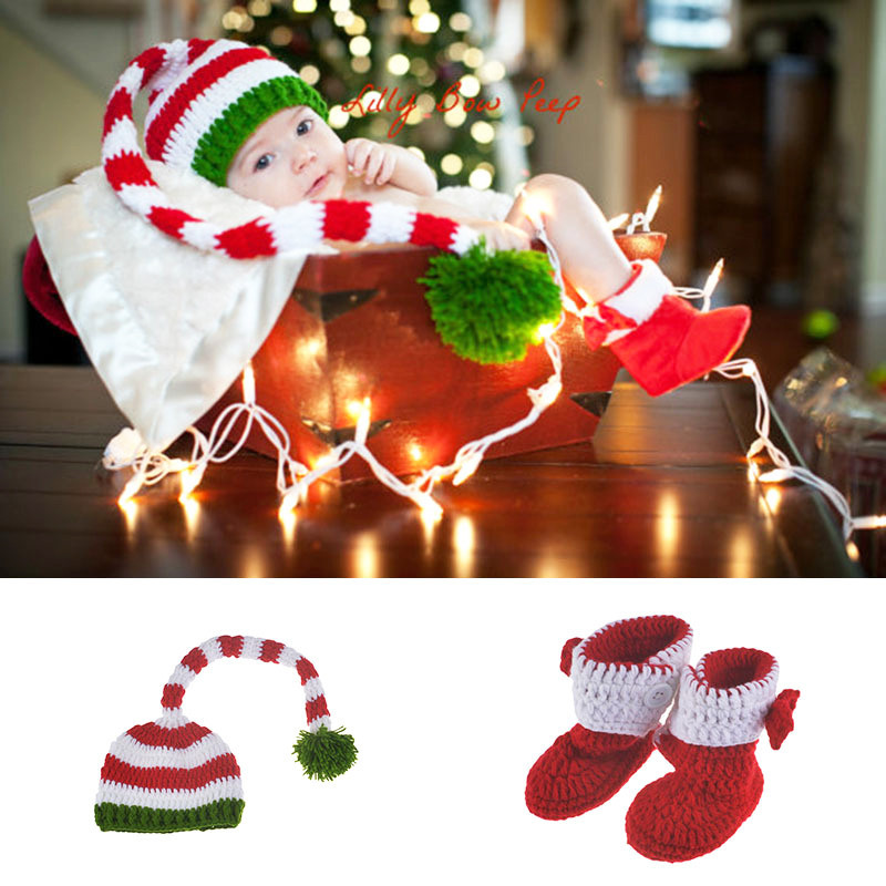 Newborn Baby Photography Props Infant Knit Crochet Costume Christmas Santa Claus Outfits Romper + Hats baby Shower Gift Crochet