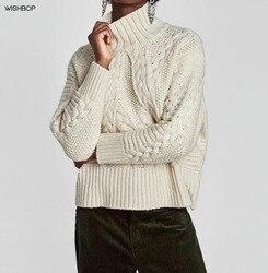 WISHBOP Nuevo 2017 Otoño Invierno mujeres Beige CABLE-KNIT suéter con  cuello alto Drop Shoulder Twist Jumper mangas largas 6c67df9ae130