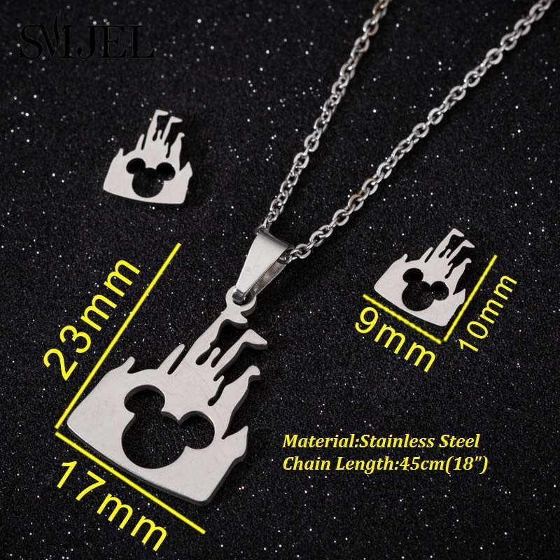 SMJEL สแตนเลส Mickey สร้อยคอชุดเครื่องประดับเด็กน่ารักของขวัญการ์ตูนปราสาทสัตว์ต่างหูสุนัขแม่ Studs bijoux