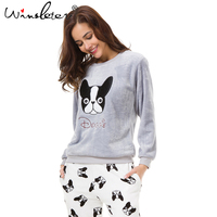 Winter Thick Pajamas Fleece Cute Boston Terrier 3 Pieces Set Sweatshirt + Pants + Buggy Bag Elastic Waist pyjamas S79405