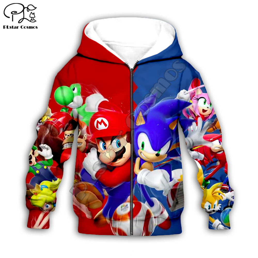 Super Mario Sonic 3d Hoodies Children Zipper Coat Long Sleeve Pullover Cartoon Sweatshirt Tracksuit Hooded/pants/family T Shirts