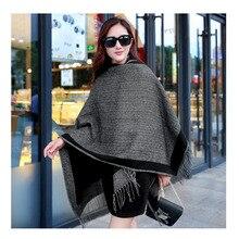 HOT Winter women shawl thick cashmere scarf poncho dark grey men EuropeStyle large Pacha fashion size bandana