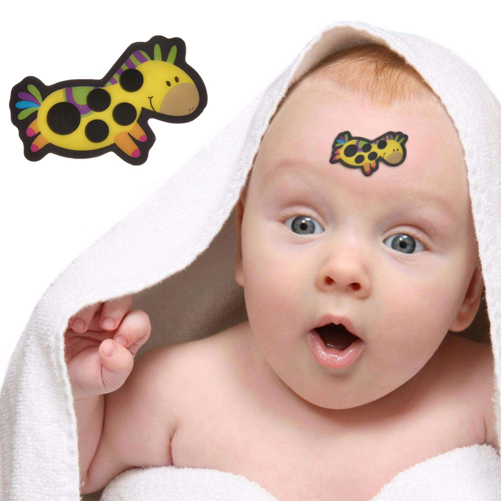 5 Pcs/Cartoon Sticker LCD Forehead Thermometers Body Fever Thermometers Head Bands Childrens Safety For Kids Care Thermometer