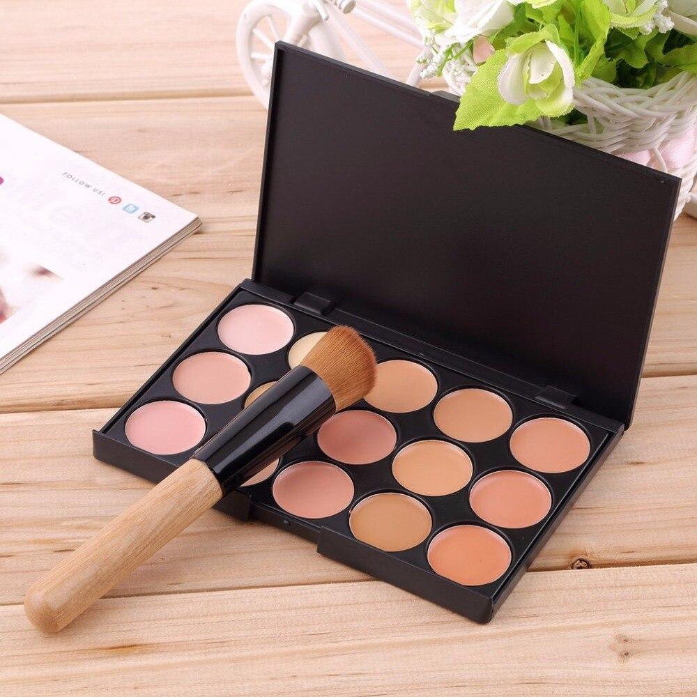 Fashion Full Professional Makeup Set Kit 15 Colors Face Makeup Concealer Palette + Wood Handle Flat Angled Brush