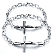 цены Romantic 316L Steel Lovers' Cross Bracelets & Bangles Classical Stainless Steel couple Link Chain Jewelry gift
