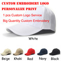 White Blank Custom Baseball Cap gorras hombre Adjustable Velcro Hats Personalized Print Embroidery Snapback Cap Free Shipping