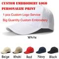 White Blank Custom Baseball Cap gorras hombre Adjustable Velcro Hats Personalized Print Embroidery Snapback Cap Free Shipping