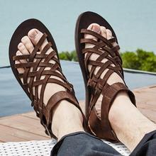 Корейский стиль с высоким берцем из коровьей кожи в римском стиле гладиаторы летние пляжные сандалии для мужчин