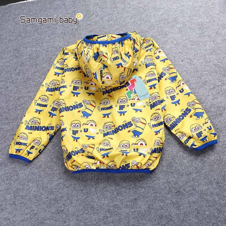 New design minions thin coats baby font b clothing b font hoodies children kids cartoon windbreaker