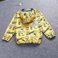 Nuevo diseño minions thin abrigos ropa de bebé sudaderas con capucha niños de dibujos animados los niños rompevientos ropa chaqueta prendas de vestir exteriores