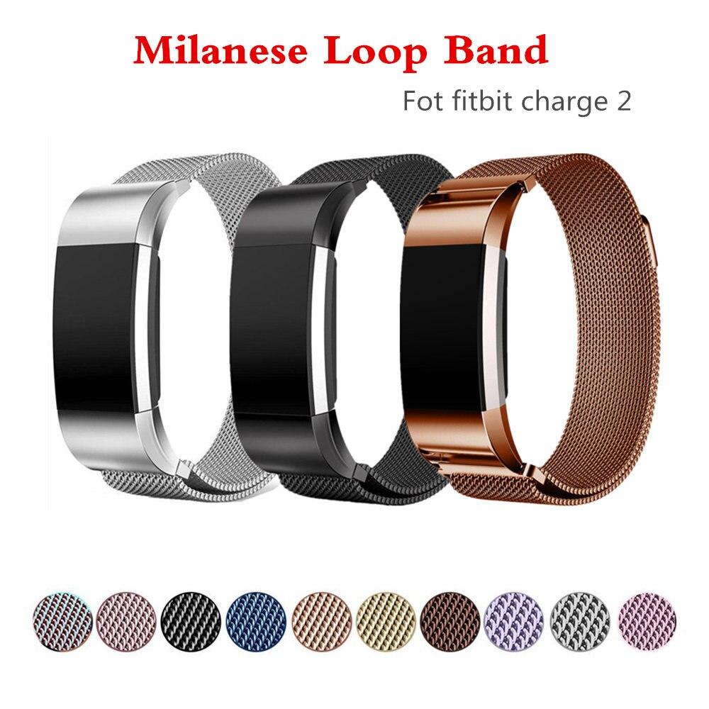 Milanese loop carica 2 della cinghia della fascia Dell'acciaio Inossidabile della vigilanza Del Braccialetto per fitbit cintura correa sostituzione wristband per fitbit charge2
