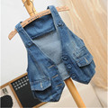 Free shipping  2017 women vest jeans windproof denim sleeveless jacket Sky dark Blue Hot sale  jeans women  fashion  jeans coat