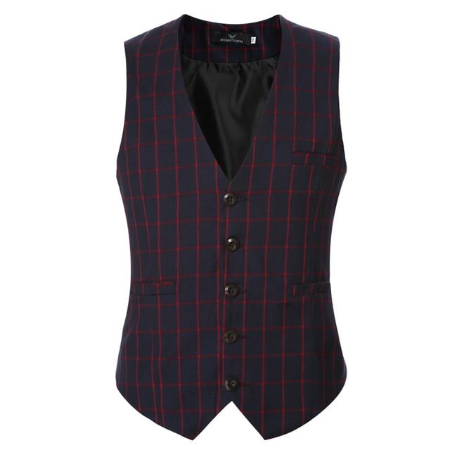 2016 nova chegada casual xadrez mens colete terno de boa qualidade slim fit sem mangas coletes de casamento do mens tamanho m-3xl