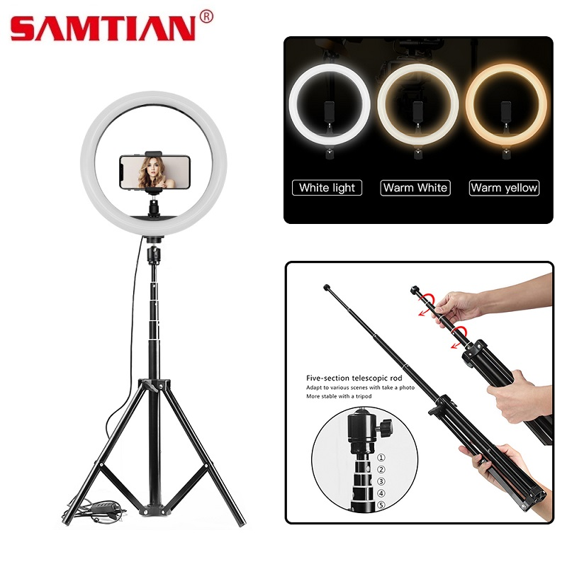 Samtian 18 pulgadas LED Luz De Anillo Kit 3200K 5500K Regulable 240 LED Iluminación De Anillo 2M