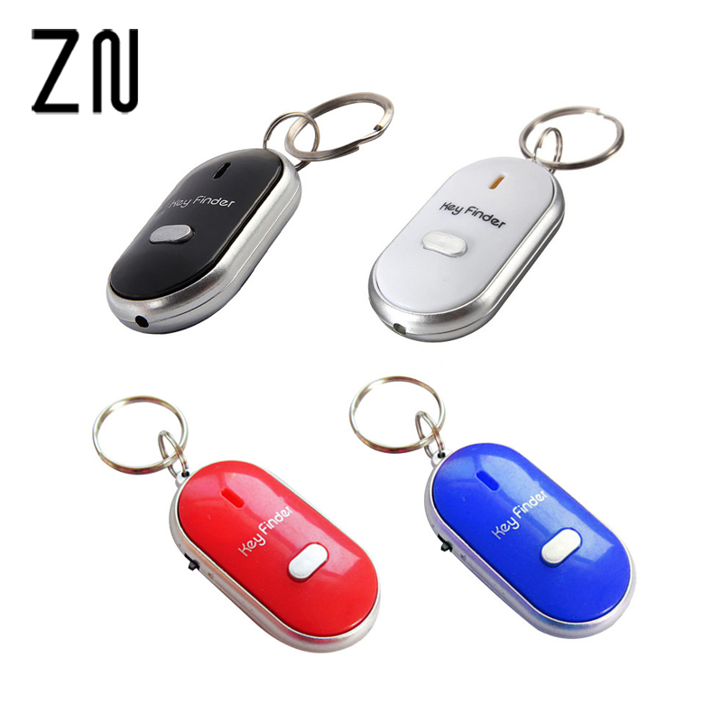 High Quality 1PC White Black Red Blue LED Key Finder Locator Find Lost Keys Chain Keychain Whistle Sound Control