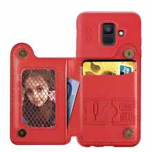 Retro Card Holder Stand Wallet Phone Case For Samsug A6 2018 5.8 inch cover for Samsug A6 Plus 6.0 inch PU Leather phone case(China)
