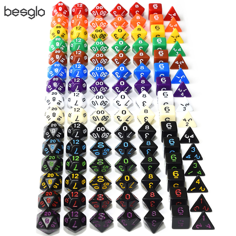 Colorful Font Polyhedral Opaque Dice 7pcs/set For Dungeons And Dragons RPG Table Games D4 D6 D8 D10 D% D12 D20