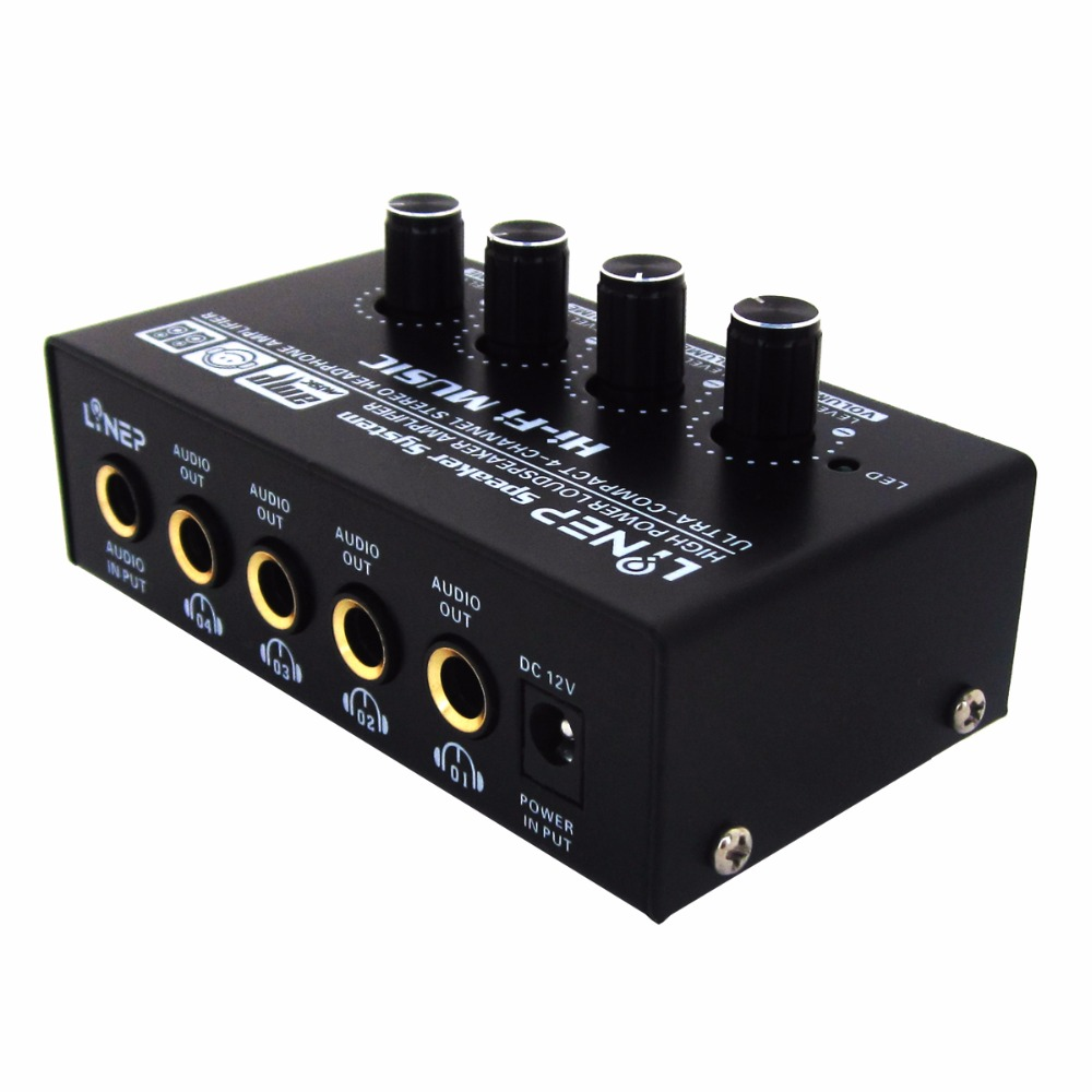 US $28 35 19% OFF|kebidumei 1 in 4 Audio Signal Switcher Amplifier A908 4  channel Stereo Microphone Preamp HIFI for Headset Speaker Compact PreAmp-in