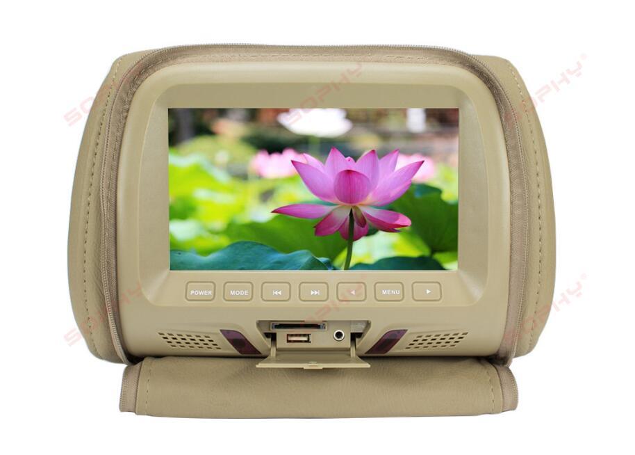 7 дюймов Автомобильный подголовник экран монитор с застежкой-молнией крышка USB и SD Функция чтения - Цвет: Beige