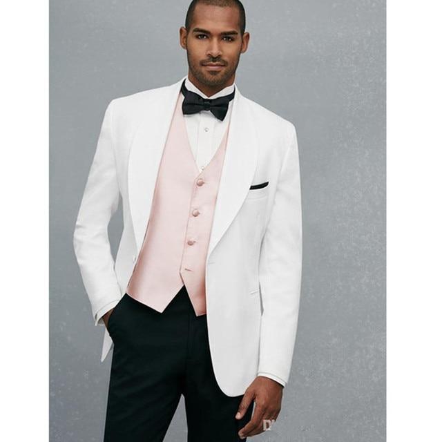 Pink Wedding Tux: Fashion White Men Suits With Light Pink Vest Handsome