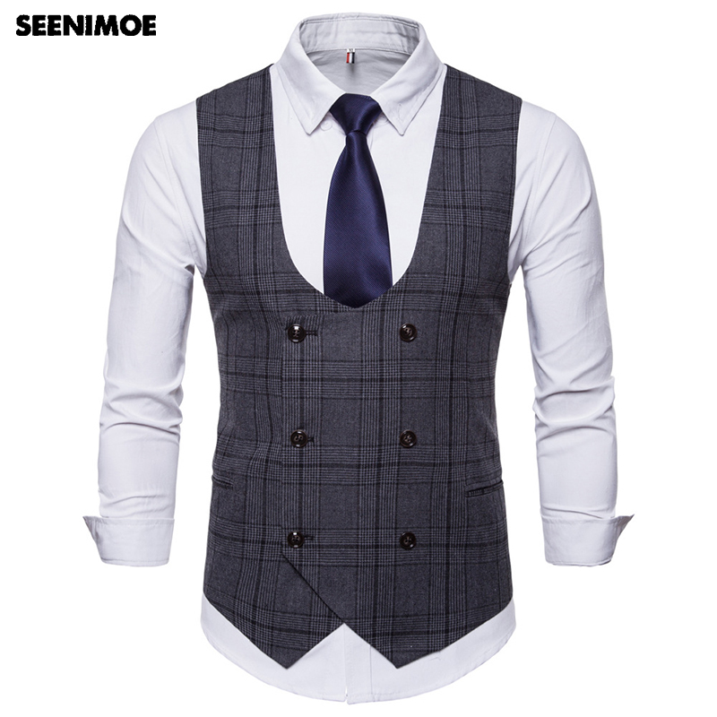 Seenimoe Mens Stripe Plaid Formal Blazer Vests Casual Double Breasted O-neck Fashion M-4XL Male England Style Casual Vests